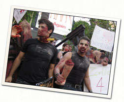 Zombie Actors with Signage